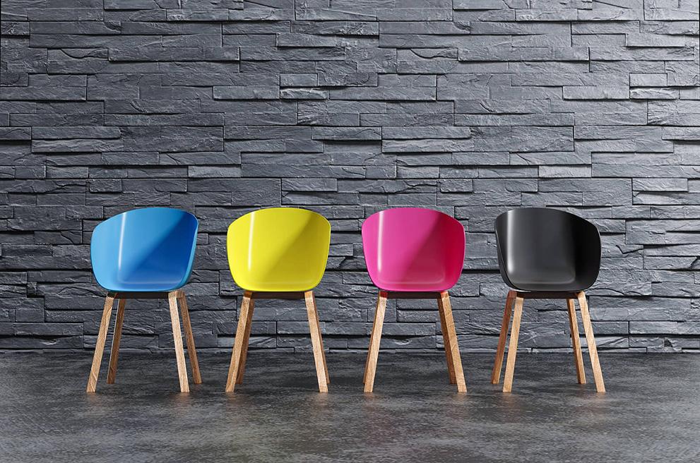 Krzesła symbolizujące CMYK